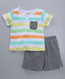 Babyoye Half Sleeves Striped Tee With Shorts - Grey Multicolour