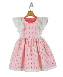 Marshmallow Kids Couture Eyelet Work Frill Sleeves Dress - Pink