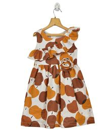 Marshmallow Kids Couture Frill Design Apple Print Dress - Brown