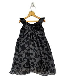 Marshmallow Kids Couture Abstract Design Print Dress - Black