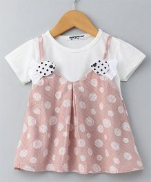 Superfie Polka Dot Half Sleeves Dress - Pink