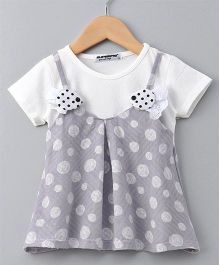 Superfie Polka Dot Half Sleeves Dress - Grey