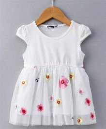 Superfie Flower Embroidered Dress - White