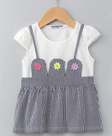 Superfie Flower Applique Stripes Dress - Grey
