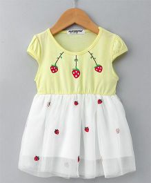 Superfie Strawberry Print Short Sleeve Dress - Yellow