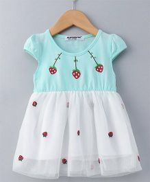 Superfie Strawberry Print Short Sleeve Dress - Green