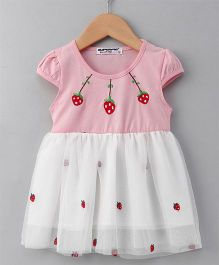 Superfie Strawberry Print Short Sleeve Dress - Pink