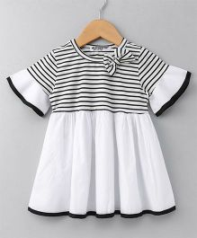 Superfie Striped Half Sleeves Dress  - Black & White