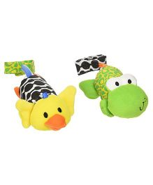 Infantino Tag Along Frog & Duck Chimes - Green Yellow