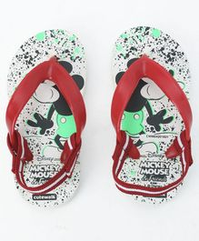 Cute Walk by Babyhug Flip Flops With Back Strap Mickey Print - White Red
