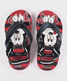Cute Walk by Babyhug Flip Flops With Back Strap Mickey Print - Black Red