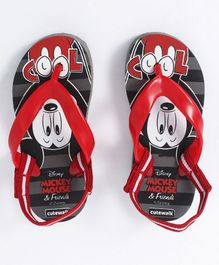 Cute Walk by Babyhug Flip Flops With Back Strap Mickey Print - Grey Red