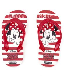 Cute Walk by Babyhug Flip Flops Minnie Mouse Print - White Red