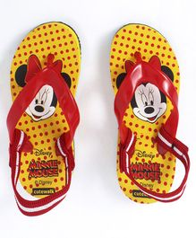 Cute Walk by Babyhug Flip Flops With Back Strap Minnie Mouse Print - Yellow