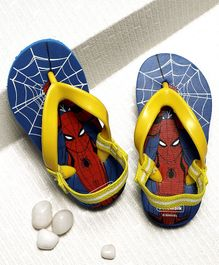 Cute Walk by Babyhug Flip Flops With Back Strap Spider Man Print - Blue Yellow