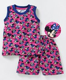 Eteenz Sleeveless Night Suit Minnie Mouse Print - Pink