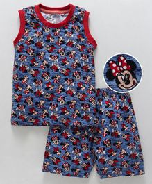 Eteenz Sleeveless Night Suit Minnie Mouse Print - Teal Blue