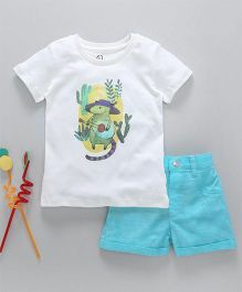 GJ Baby Half Sleeves T-Shirt & Shorts Set Mice Print - Blue White