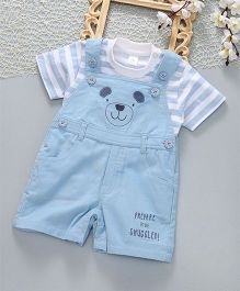 ToffyHouse Corduroy Dungaree With T-Shirt Snuggled Design - Blue White