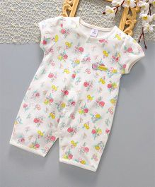 ToffyHouse Short Sleeves Sleep Suit Floral Print - White Pink