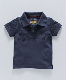 Olio Kids Half Sleeves Polo T-Shirt Leaf Print - Navy Blue