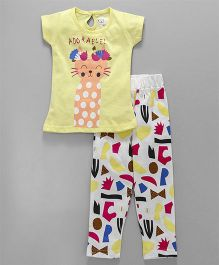 Olio Kids Half Sleeves Night Suit Kitty Print - Lemon Yellow
