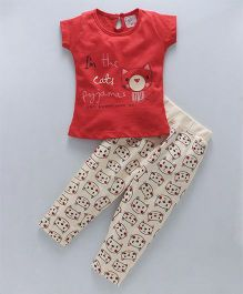Olio Kids Short Sleeves Night Suit Kitty Print - Red
