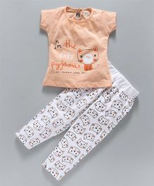 Olio Kids Short Sleeves Night Suit Kitty Print - Peach