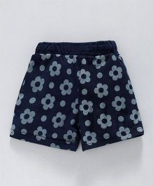 Olio Kids Shorts Floral Print - Navy Blue