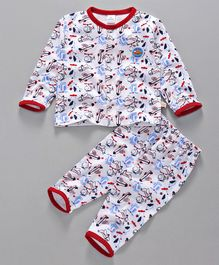Olio Kids Full Sleeves Night Suit Aeroplane Print - White
