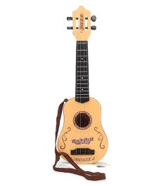 Guitar Toy With 4 Strings - Light Brown & Black