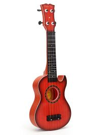 Toy Guitar With 4 Strings - Red Black