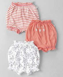 Babyoye Bloomers Stripes & Bunny Print Print Pack of 3 - White Coral