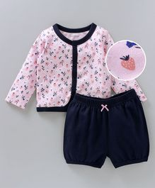 Babyoye Full Sleeves Vest With Shorts Strawberry Print - Pink