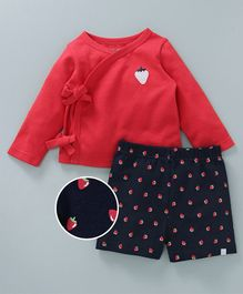 Babyoye Full Sleeves Vest With Shorts Strawberry Print - Red Navy