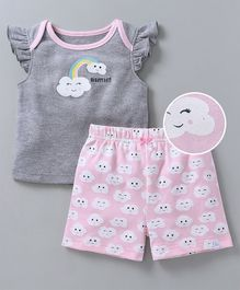 Babyoye Frill Sleeves Top & Shorts Set Happy Day Print - Grey
