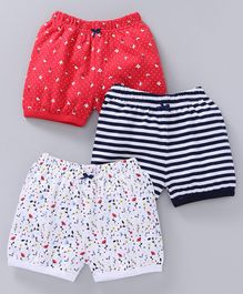 Babyoye Shorts Pack of 3 - Red White Navy Blue