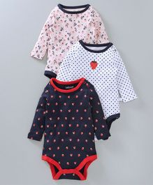 Babyoye Full Sleeves Onesie Strawberry Print Pack of 3 - Blue White & Pink