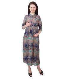 MomToBe Three Fourth Sleeves Rayon Maternity Dress Floral Print - Brown Blue