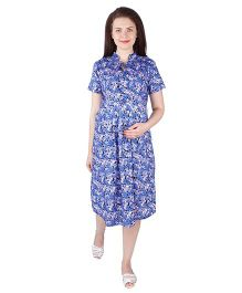 MomToBe Half Sleeves Rayon Maternity Dress Floral Print - Blue