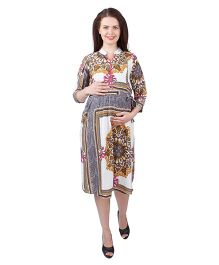 MomToBe Three Fourth Sleeves Rayon Maternity Dress Floral Print - White Yellow