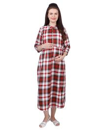 MomToBe Three Fourth Sleeves Rayon Maternity Dress Checks Print - Red White