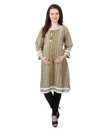 MomToBe Three Fourth Sleeves Cotton Maternity Kurti Floral Print - Green Cream