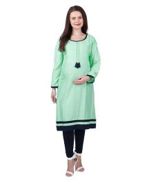 MomToBe Three Fourth Sleeves Rayon Maternity Kurti - Sea Green