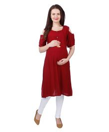 MomToBe Cold Shoulder Sleeves Rayon Maternity Kurti - Dark Red