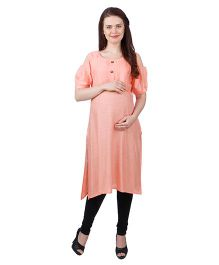 MomToBe Cold Shoulder Sleeves Rayon Maternity Kurti - Peach