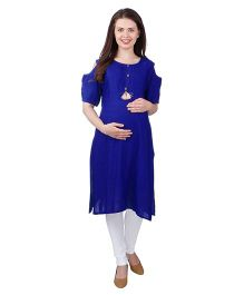 MomToBe Cold Shoulder Sleeves Rayon Maternity Kurti - Royal Blue