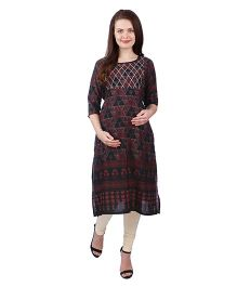 MomToBe Three Fourth Sleeves Rayon Maternity Kurti Triangle Print - Black