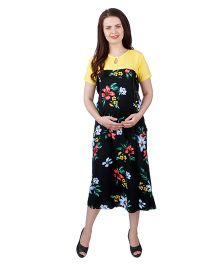 MomToBe Rayon Half Sleeves Maternity Dress Floral Print - Black Yellow