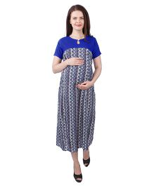 MomToBe Rayon Half Sleeves Maternity Dress Abstract Print - Royal Blue